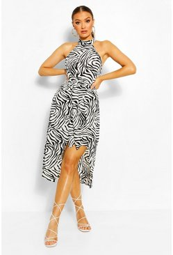 Cream Zig Zag Bodycon Midi Dress