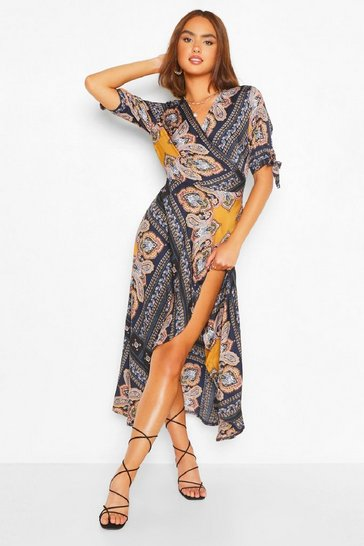 Navy Scarf Print Bodycon Midi Dress