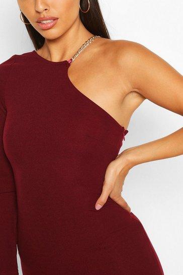 Plum One Shoulder Midi Dress