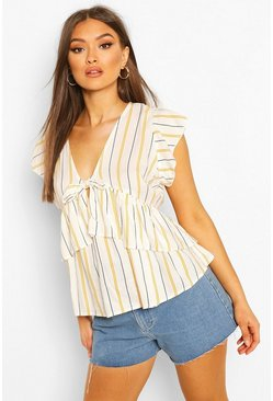 White Tie Front Stripe Woven Top