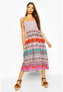 Red Woven Aztec Print Shirred Sundress