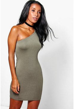 Khaki Emma One Shoulder Bodycon Dress