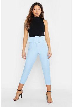 Denim-blue blue Super High Waisted Belted Peg Trouser