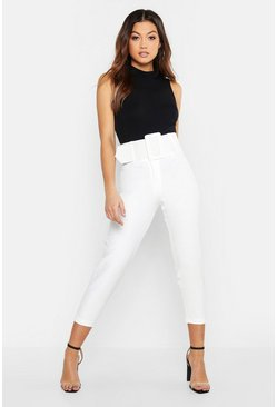 Ecru white Super High Waisted Belted Peg Trouser