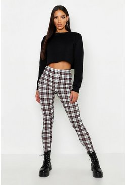 Black Plaid Check Basic Jersey Leggings