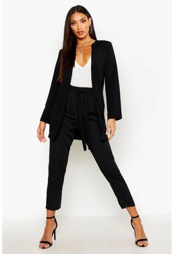 Black Collarless Pocket Detail Duster Jacket