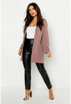 Taupe beige Collarless Pocket Detail Duster Jacket
