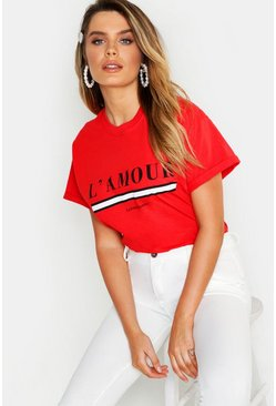Red L'amour Slogan T-Shirt