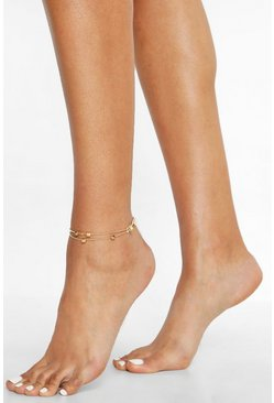 Gold metallic Cube Pendant Double Chain Anklet
