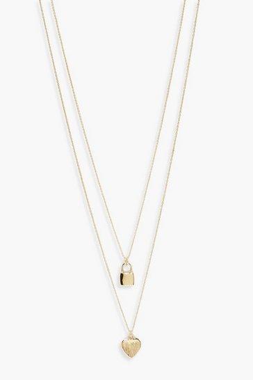 Gold metallic Padlock And Heart Layered Necklace