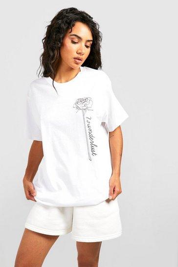 White Rose Pocket Print Slogan T-Shirt