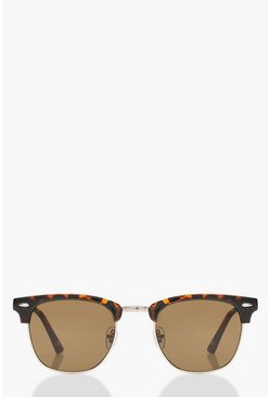 Brown Classic Square Top Tortoiseshell Sunglasses