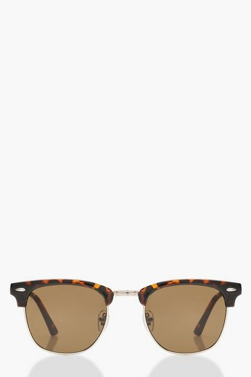 Brown Classic Square Top Tortoiseshell Sunglasses