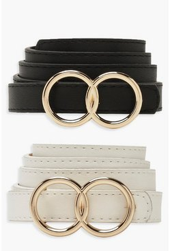Multi Double Ring Skinny 2 Pk Belt