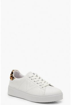 White Leopard Back Platform Trainers