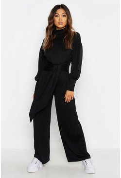 Black Cut & Sew Batwing Roll Neck Jumpsuit