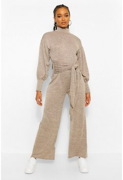 Camel beige Cut & Sew Batwing Roll Neck Jumpsuit