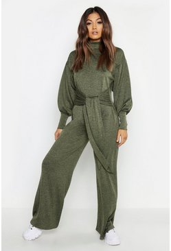 Khaki Cut & Sew Batwing Roll Neck Jumpsuit