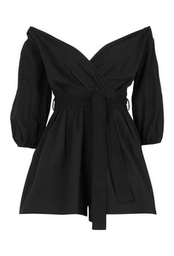 Black Linen Mix Bardot Belted Wrap Playsuit