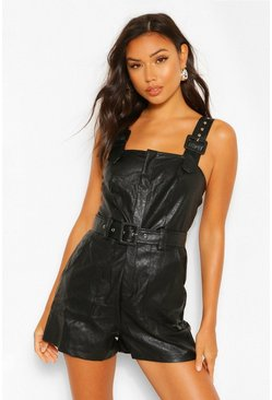 Black PU Faux Leather Belted Pinafore Romper
