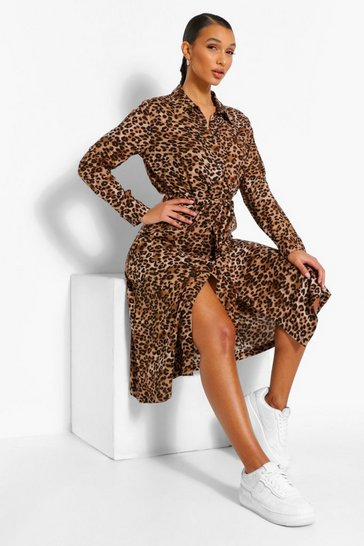 Chocolate Mixed Leopard Print Belted Midi Shirt Dress
