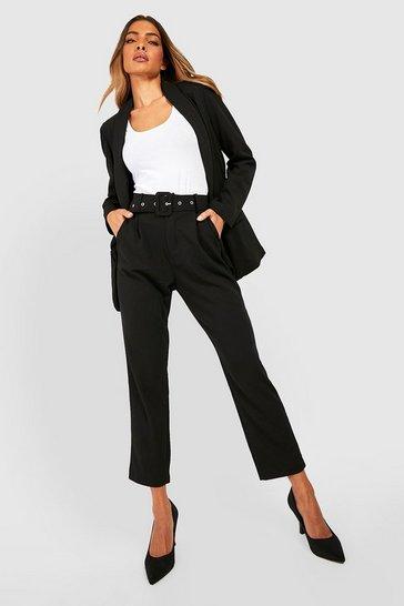 Black Self Belt Tailored Trouser