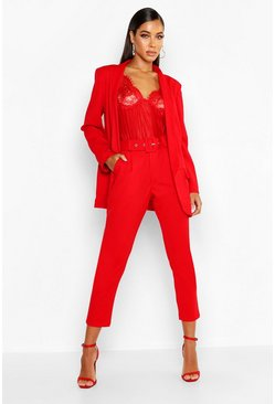 Red Self Belt Dress Pants
