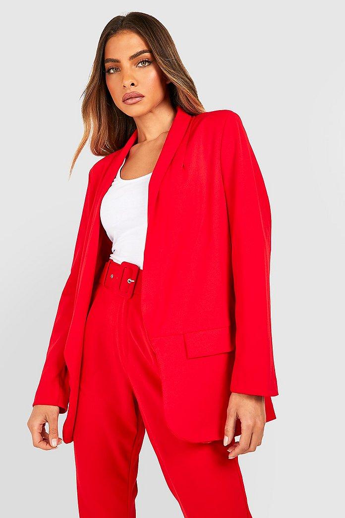 blazer ajuste rouge femme