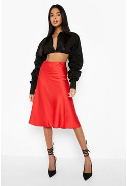 Red Satin Bias Cut Slip Midi Skirt