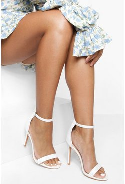 White Barely There Basic 2 Part Heels