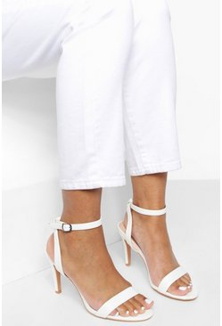 White Low Barely There Heels