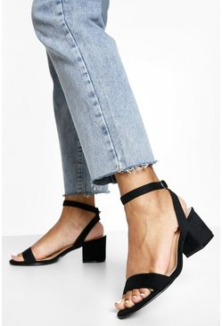 Black Low Block Barely There Heels