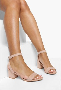 Blush pink Low Block Barely There Heels