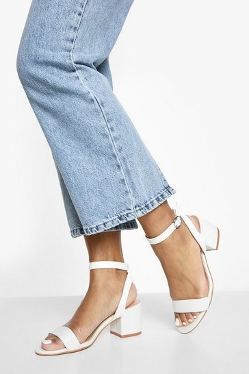 White Low Block Barely There Heels