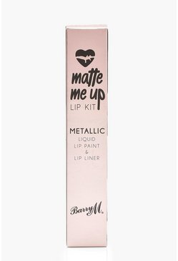 Pink Barry M Metallic Matte Me Up Lip Kit - Couture