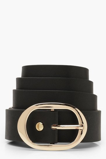 Black Oval Buckle Boyfriend Belt