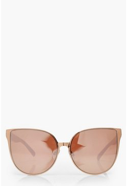 Rose Gold Oversized Retro Sunglasses