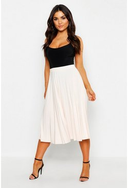 Nude Slinky Pleated Midi Skirt