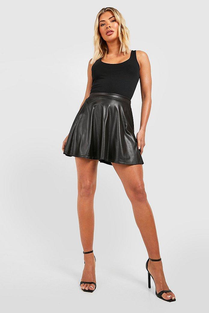 Mini jupe patineuse effet cuir | boohoo