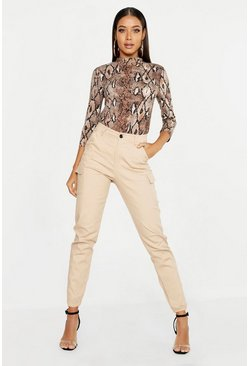 Stone beige High Waist Woven Cargo Pocket Trouser