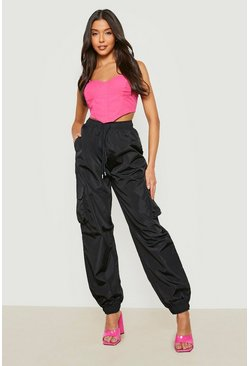 Black High Waist Pocket Side Shell Jogger