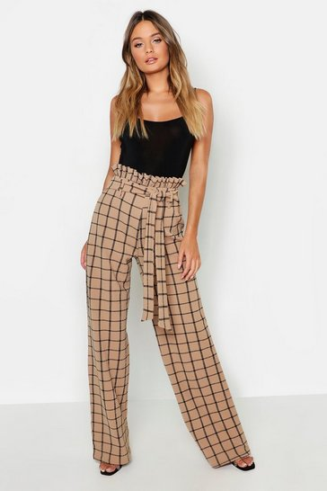 Sand beige Paperbag Waist Checked Wide Leg Trouser