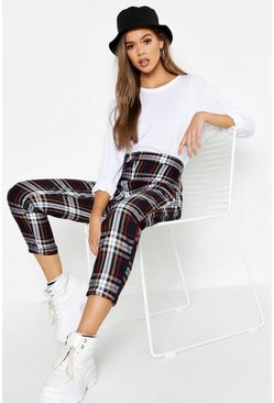 Black Tartan Check Tapered Pants