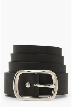 Black Silver Buckle Boyfriend Belt