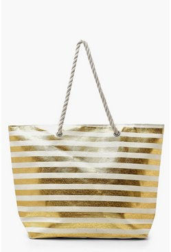 Gold metallic Metallic Stripe Rope Handle Beach Bag