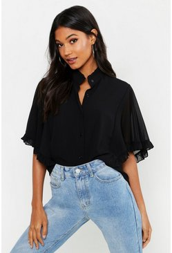 Black Woven Ruffle angel Sleeve Blouse