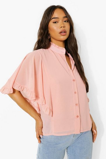 Blush pink Nude Woven Ruffle Angel Sleeve Blouse