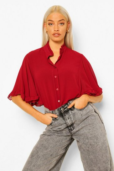 Red Teal Woven Ruffle Angel Sleeve Blouse