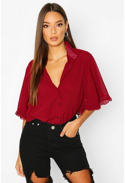 Wine red Woven Ruffle angel Sleeve Blouse