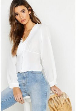Ivory Woven Waist Detail Blouse